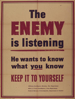 Vintage Poster - The Enemy Is Listening Poster by Vintage Images