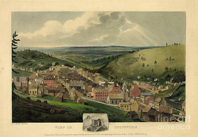 Vintage Pottsville Pennsylvania Etching With Remarque Poster by John Stephens