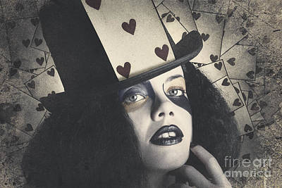 Vintage Queen Of Hearts Wearing Poker Card Poster