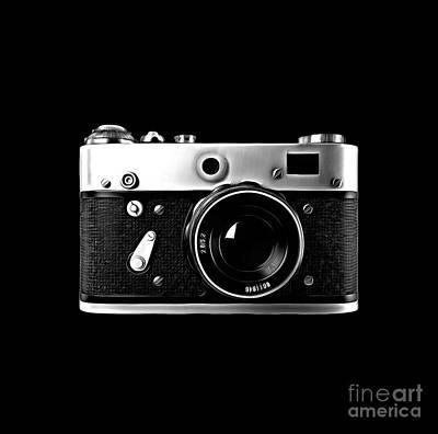 Poster featuring the digital art Vintage Rangefinder Film Camera by Edward Fielding