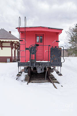 Poster featuring the photograph Vintage Red Caboose In The Snow by Edward Fielding