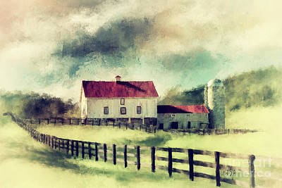 Poster featuring the digital art Vintage Red Roof Barn by Lois Bryan