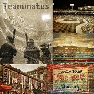 Vintage Red Sox Fenway Park Baseball Collage Poster by Joann Vitali