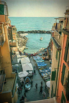 Vintage Riomaggiore Cinque Terre Italy Poster by Joan Carroll