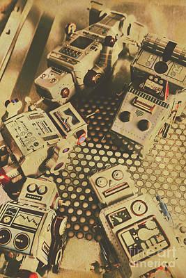 Vintage Robot Charging Zone Poster