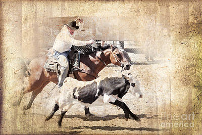 Vintage Rodeo Poster by Delphimages Photo Creations