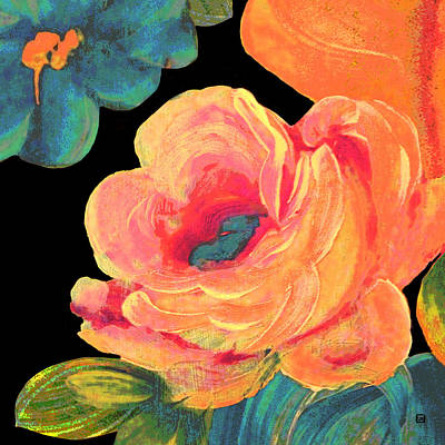 Poster featuring the painting Vintage Rose On Black by Lisa Weedn