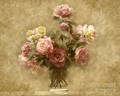 Poster featuring the photograph Vintage Roses by Cheryl Davis