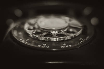 Vintage Rotary Phone Black And White Poster by Terry DeLuco