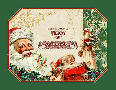 Vintage Santa Claus - Glittering Christmas 3 Poster by Audrey Jeanne Roberts