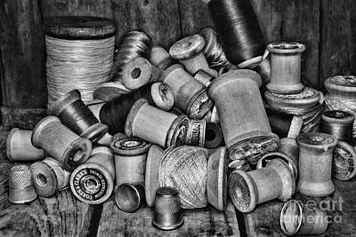 Vintage Sewing Spools In Black And White Poster by Paul Ward