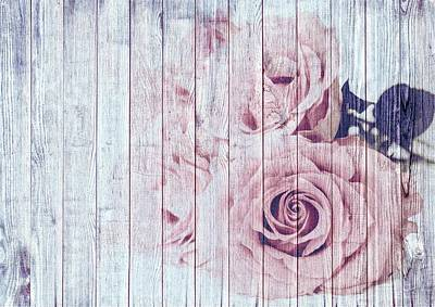 Vintage Shabby Chic Dusky Pink Roses On Blue Wood Effect Background Poster