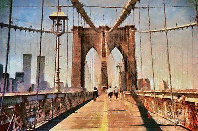 Vintage Shot Of Brooklyn Bridge With Twin Towers Poster by Nishanth Gopinathan