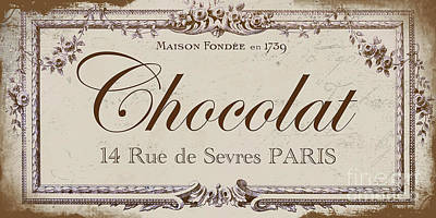 Vintage Sign, Chocolat Paris Poster by Mindy Sommers