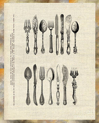 Poster featuring the drawing Vintage Silverware by Ariadna De Raadt