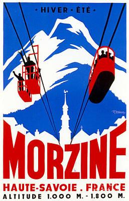 Vintage Ski Travel France Poster by Mindy Sommers