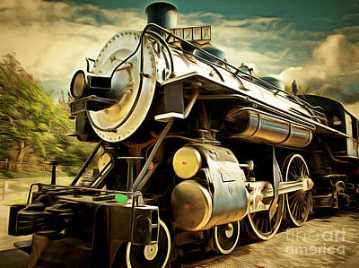 Vintage Steam Locomotive 5d29110brun Poster