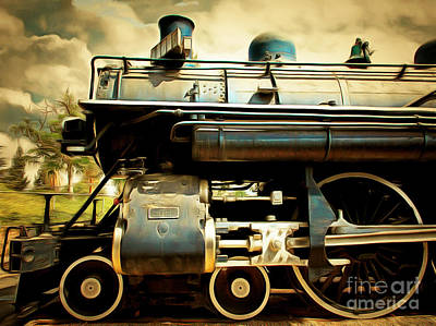 Vintage Steam Locomotive 5d29112brun Poster
