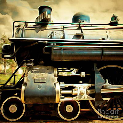Vintage Steam Locomotive 5d29112brun Sq Poster