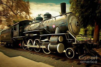 Vintage Steam Locomotive 5d29122brun Poster