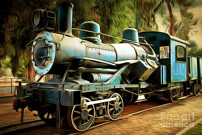 Vintage Steam Locomotive 5d29168brun Poster