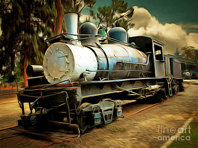 Vintage Steam Locomotive 5d29172brun Poster