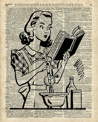 Vintage Stencil Of Cooking Girl Over Old Dictionary Book Page Poster by Jacob Kuch