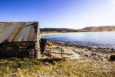 Vintage Stone Beach Cabin  Poster by Jorgo Photography - Wall Art Gallery