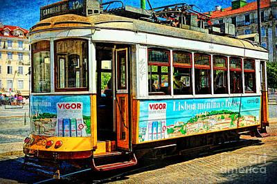 Vintage Street Tram In Lisbon Poster