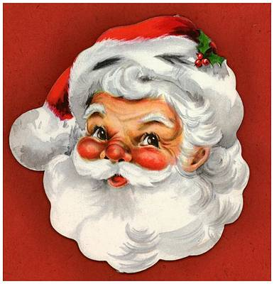 Vintage Style Of Santa Head Poster by Gillham Studios