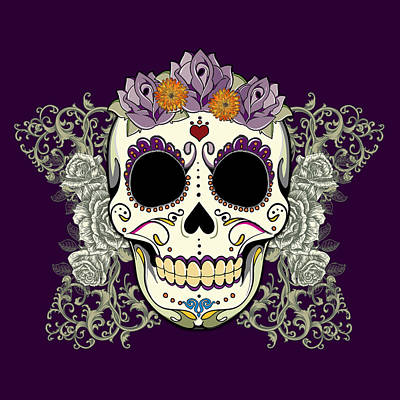 Vintage Sugar Skull And Flowers Poster by Tammy Wetzel