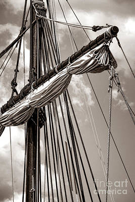 Vintage Tall Ship Rigging Poster by Olivier Le Queinec