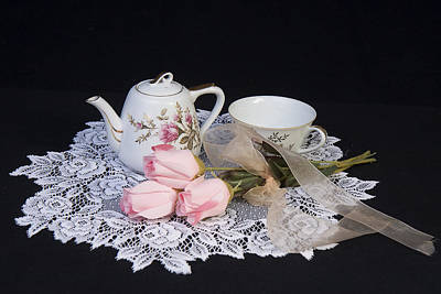 Vintage Tea Set Poster by Trudy Wilkerson