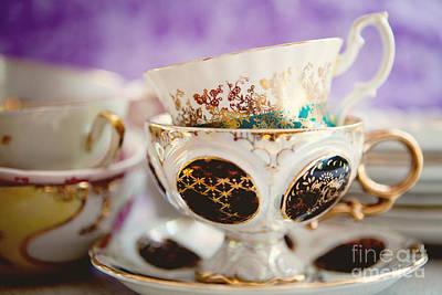 Vintage Teacups Poster by Kim Fearheiley