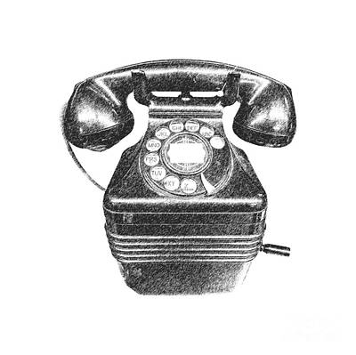 Vintage Telephone Tee Poster by Edward Fielding