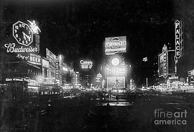 Vintage Times Square At Night Black And White Poster by John Stephens