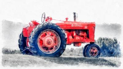 Vintage Tractor Watercolor Poster by Edward Fielding