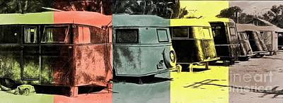 Poster featuring the painting Sarasota Series Vintage Trailer Park Pop Art by Edward Fielding