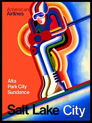 Vintage Travel Poster Salt Lake City Poster