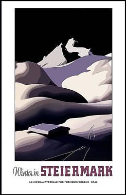vintage travel poster Winter in Steiermark Poster