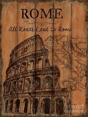 Vintage Travel Rome Poster by Debbie DeWitt