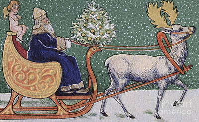 Vintage Victorian Depicting Father Christmas On His Sleigh Poster