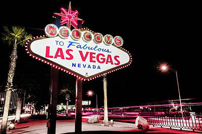 Vintage Welcome To Fabulous Las Vegas Neon Cityscape Poster by Gregory Ballos