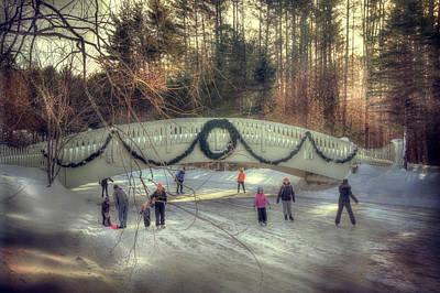 Vintage Winter Ice Skating Scene  Poster by Joann Vitali