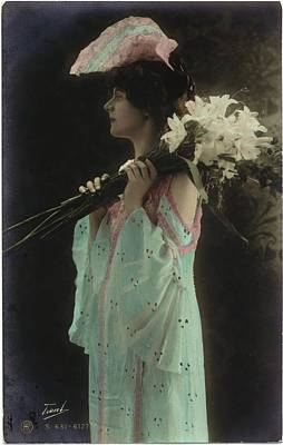 Vintage Woman In Gown Holding Lilies Poster by Gillham Studios