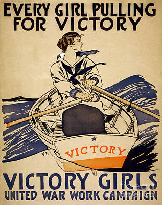 Vintage Women Rowboat Poster by Mindy Sommers