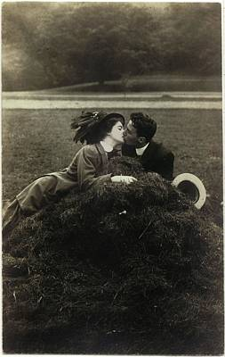 Vintage Young Man And Woman Kissing Poster by Gillham Studios