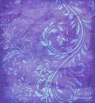 Violet, Lavender And Turquoise Floral Swirl Pattern Poster by Tina Lavoie