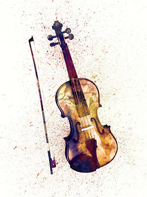 Violin Abstract Watercolor Poster by Michael Tompsett