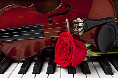 Violin And Rose On Piano Poster by Garry Gay